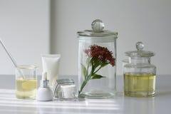 Φυσική έννοια προϊόντων ομορφιάς, που διατυπώνει τη χημική ουσία για το καλλυντικό Στοκ Φωτογραφίες
