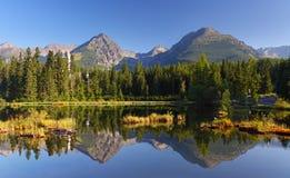 Φυσική λίμνη άνοιξη στο βουνό της Σλοβακίας Tatra - Strbske Pleso Στοκ Εικόνα