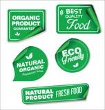 Φυσική οργανική πράσινη συλλογή προϊόντων των ετικετών και των διακριτικών Στοκ Φωτογραφία