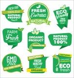Φυσική οργανική πράσινη συλλογή προϊόντων των ετικετών και των διακριτικών Στοκ φωτογραφία με δικαίωμα ελεύθερης χρήσης