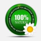 φυσική πράσινη ετικέτα 100% που απομονώνεται σε white.vector Στοκ Φωτογραφίες