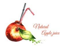 Φυσική σύνθεση χυμού της Apple Hand-drawn απεικόνιση Watercolor Στοκ φωτογραφία με δικαίωμα ελεύθερης χρήσης