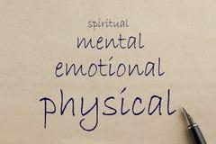 Φυσικός, διανοητικός, συναισθηματικός και πνευματικός στοκ εικόνες με δικαίωμα ελεύθερης χρήσης