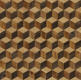 Φυσικός ξύλινος κύβος υποβάθρου τρισδιάστατος Στοκ Εικόνα