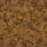 Φυσικός ξύλινος κύβος υποβάθρου τρισδιάστατος Στοκ Φωτογραφία