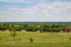 Φυσικός ορίζοντας - πράσινος τομέας ενάντια σε έναν μπλε ουρανό στοκ φωτογραφίες με δικαίωμα ελεύθερης χρήσης