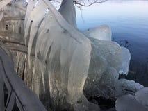 Φυσικός πάγος Sculpures στη λίμνη Plöner Στοκ Εικόνες