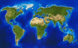 Φυσικός παγκόσμιος χάρτης Στοκ Φωτογραφία