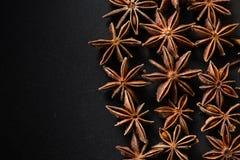 Φυσικός σπόρος anis μορφής αστεριών στο μαύρο υπόβαθρο Στοκ Φωτογραφίες