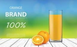 Φυσικός φρέσκος χυμός από πορτοκάλι σε ένα γυαλί διανυσματική απεικόνιση