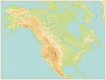 Φυσικός χάρτης της Βόρειας Αμερικής Εκλεκτής ποιότητας χρώμα κανένα κείμενο ελεύθερη απεικόνιση δικαιώματος