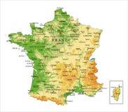 Φυσικός χάρτης της Γαλλίας ελεύθερη απεικόνιση δικαιώματος