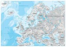 Φυσικός χάρτης της Ευρώπης Άσπρος και γκρίζος ελεύθερη απεικόνιση δικαιώματος