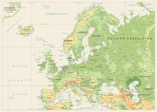 Φυσικός χάρτης της Ευρώπης Αναδρομικά χρώματα Κανένα bathymetry διανυσματική απεικόνιση