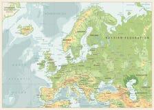 Φυσικός χάρτης της Ευρώπης Αναδρομικά χρώματα διανυσματική απεικόνιση