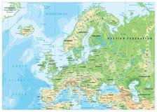 Φυσικός χάρτης της Ευρώπης Στοκ εικόνα με δικαίωμα ελεύθερης χρήσης