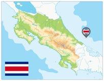 Φυσικός χάρτης της Κόστα Ρίκα κανένα κείμενο διανυσματική απεικόνιση