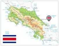 Φυσικός χάρτης της Κόστα Ρίκα Στο λευκό διανυσματική απεικόνιση