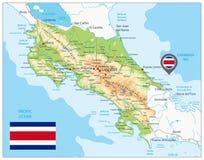 Φυσικός χάρτης της Κόστα Ρίκα ελεύθερη απεικόνιση δικαιώματος