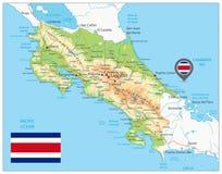 Φυσικός χάρτης της Κόστα Ρίκα διανυσματική απεικόνιση
