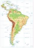 Φυσικός χάρτης της Νότιας Αμερικής στο λευκό Στοκ φωτογραφία με δικαίωμα ελεύθερης χρήσης