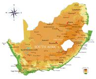 Φυσικός χάρτης της Νότιας Αφρικής στοκ φωτογραφία με δικαίωμα ελεύθερης χρήσης
