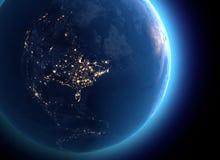 Φυσικός χάρτης του κόσμου, δορυφορική άποψη της Βόρειας Αμερικής και του Καναδά σφαίρα ημισφαίριο Άποψη νύχτας, φω'τα πόλεων απεικόνιση αποθεμάτων