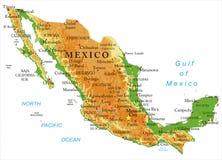 Φυσικός χάρτης του Μεξικού Στοκ Φωτογραφία