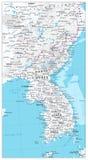 Φυσικός χάρτης χαρτών χερσονήσων της Κορέας Στοκ εικόνα με δικαίωμα ελεύθερης χρήσης