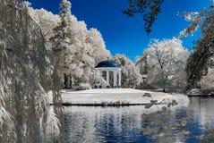 Φυσικό δημόσιο πάρκο στο Στρασβούργο, υπέρυθρη άποψη, ηλιόλουστη ημέρα στοκ εικόνες με δικαίωμα ελεύθερης χρήσης