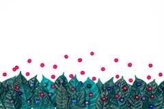 Φυσικό εορταστικό πράσινο υπόβαθρο φύλλων σουρεαλησμού στο άσπρο υπόβαθρο Στοκ Εικόνες
