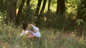 Φυσικό κορίτσι ομορφιάς που συλλέγει τα λουλούδια υπαίθρια στην έννοια απόλαυσης ελευθερίας φιλμ μικρού μήκους