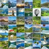 Φυσικό κολάζ ταξιδιού τοπίων της Νορβηγίας στοκ εικόνα