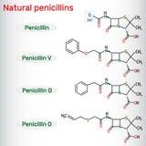 Φυσικό μόριο φαρμάκων πενικιλινών αντιβιοτικό Benzylpenicillin, phenoxymethylpenicillin, almecillin δομικός χημικός τύπος απεικόνιση αποθεμάτων