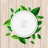 Φυσικό ξύλινο υπόβαθρο σύστασης και στρογγυλό πράσινο πνεύμα πλαισίων φύλλων ελεύθερη απεικόνιση δικαιώματος