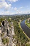 Φυσικό πάρκο Bastei Elbe Σαξωνία Γερμανία στοκ εικόνα
