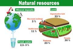 Φυσικό περιβαλλοντικό διανυσματικό infographics των πόρων ελεύθερη απεικόνιση δικαιώματος