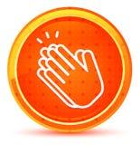 Φυσικό πορτοκαλί στρογγυλό κουμπί εικονιδίων χειροκροτήματος χεριών απεικόνιση αποθεμάτων