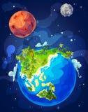 Φυσικό πρότυπο γήινων σφαιρών κινούμενων σχεδίων Στοκ εικόνα με δικαίωμα ελεύθερης χρήσης