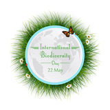 Φυσικό πλαίσιο με τον κύκλο χλόης για τη διεθνή ημέρα βιοποικιλότητας διανυσματική απεικόνιση