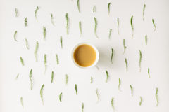 Φυσικό σχέδιο καφέ πρωινού Επίπεδος βάλτε Στοκ Εικόνα