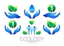 Φυσικό σύνολο σχεδίου λογότυπων διανυσματικό Νερό φύλλων χεριών και peple στο άσπρο υπόβαθρο Πράσινα και μπλε χρώματα Σημάδι για Στοκ εικόνα με δικαίωμα ελεύθερης χρήσης