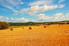 Φυσικό τοπίο με τα haybales Στοκ φωτογραφία με δικαίωμα ελεύθερης χρήσης