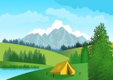Φυσικό τοπίο με το μπλε ουρανό, βουνά στο υπόβαθρο, πράσινοι λόφοι, δέντρα και πρώτο πλάνο μια σκηνή στρατοπέδευσης δίπλα σε μια  απεικόνιση αποθεμάτων