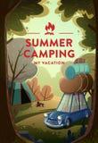 Φυσικό τοπίο με το στρατόπεδο διακοπών στο δάσος διανυσματική απεικόνιση