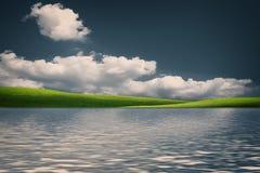 Φυσικό τοπίο νεράιδων με τους πράσινους λόφους Στοκ Εικόνες