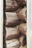 Φυσικό υπόβαθρο ενός τοίχου κούτσουρων Στοκ Φωτογραφίες
