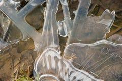Φυσικό υπόβαθρο κρυστάλλου πάγου παγωμένο Στοκ Εικόνες