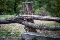 Φυσικό χέρι - γίνοντας φράκτης φιαγμένος από ξύλινο δέντρο brenches Κλείστε επάνω την άποψη του του χωριού φράκτη με το βρύο στην στοκ φωτογραφία