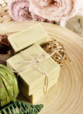 Φυσικό χειρωνακτικό σαπούνι Aromatherapy σε μια SPA Στοκ φωτογραφία με δικαίωμα ελεύθερης χρήσης